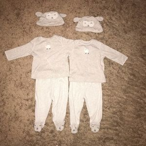 Carter's 3m Baby Boys Girls Unisex Twin Set